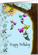 Happy Birthday, Butterflies and Flowers card