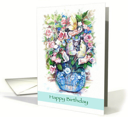 Fairies in a Rose Bouquet, Happy Birthday card (1101168)