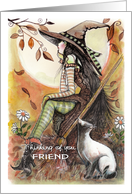 to friend, thinking of you, Witch and Siamese Cat card