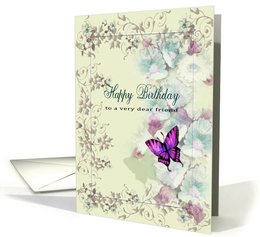 for dear friend, Butterfly and Flowers, Happy Birthday card (1276118)