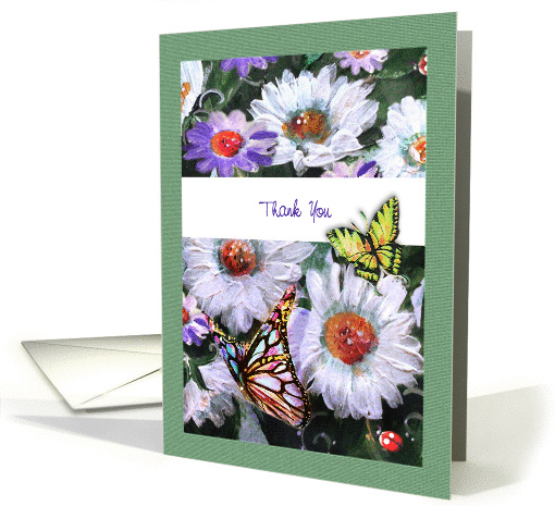 Painted Daisies and Butterflies, Thank you card (1278882)