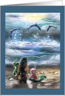 Mermaids on the Beach, dolphins, any occasion card