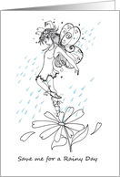 Fairy in the Rain to Color, Blank card