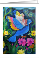 Blue Bird and Fairy in Flight card