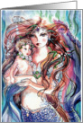 Colorful Mermaid & Child,Blank card