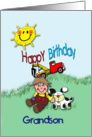 Birthday for young Grandson, Cute card