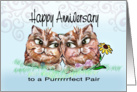 Two Loving Cats, Anniversary Greeting card
