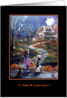 Haunted house, Cute Trick or Treat card