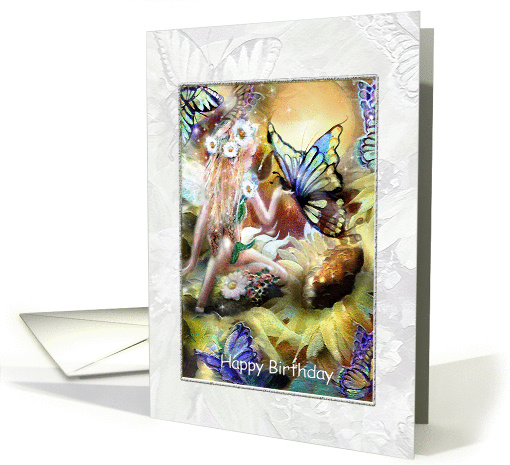 Garden Fairy, and Butterflies, Happy Birthday card (856073)