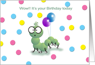 whimsical Bookworm and Balloons, Birthday card