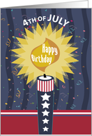 Fourth of July Birthday Candle card