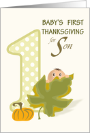 Baby Peeking Over Leaf - Son First Thanksgiving card