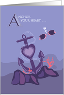 Ship Anchor in the Sea of Love - Valentine's Day card