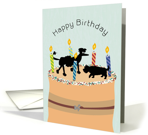 Poodle and Terrier Cake Happy Birthday card (1580852)