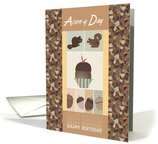 Happy Birthday Squirrels and Acorns card (1581944)