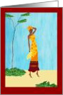 Hard working African Woman Carrying Water Pot card