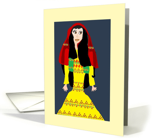 Afghan Woman in yellow card (996061)