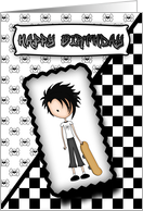 Little Emo Boy Skateboarder Birthday Card in Black and White card