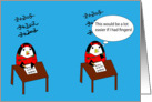 Waddles the Penguin Hates Math Encouragement card