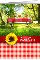 Picnic Invitation, Red Gingham Picnic Table and Yellow Sunflowers card