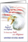 Army Commissioning, Eagle & American Flag Military Announcement card