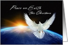 Peace on Earth at Christmas, Dove of Peace & Earth from Space card