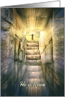 He is Risen Happy Easter with Jesus and Empty Tomb card