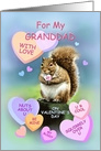 Granddad Valentine's Day Squirrel with Candy Hearts card