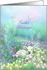 Easter Blessings, Lamb in Springtime Meadow of Tulips card