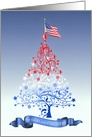 For God and Country Patriotic Christmas Tree with American Flag card
