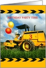 Birthday Party Invitation for 3 Year Old, Balloons & Tractor Bulldozer card