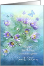 Sweet Sixteen to Granddaughter, Happy Birthday Flower Painting card