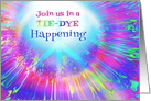 Tie-Dye Party Invitation Rainbow Colors and Peace Symbol card