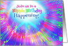 Hippie Birthday Party Invitation Rainbow Colors and Peace Symbol card