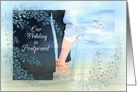 Wedding is Postponed, Bride and Groom Hand in Hand at Beach card