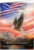 Eagle Scout Court of Honor Invitation, Flag & Eagle, Custom Front card
