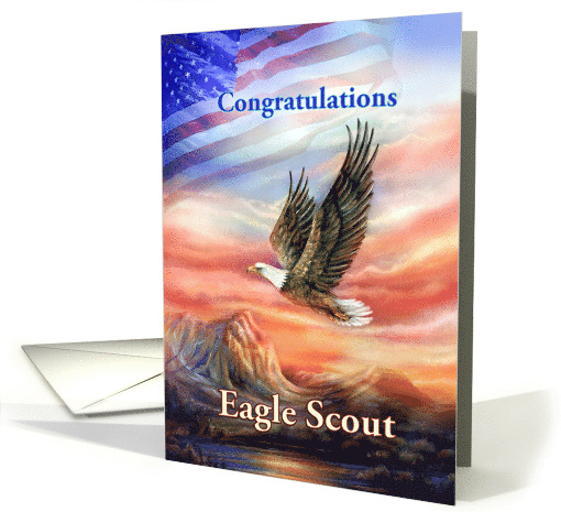 Eagle Scout Court of Honor Congratulations, Flag and Eagle card