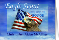 Eagle Scout Court of Honor Invitation, Eagle and Flag Custom Front card