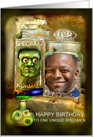 Funny Happy Birthday to Specimen, Creepy Head in Jar Photo Card