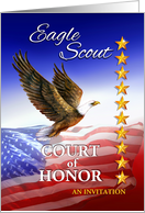 Invitation for Eagle Scout Court of Honor, Flag and Eagle card