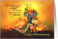 Give Thanks, Happy Thanksgiving, Pumpkins and Autumn Leaves card