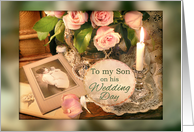 Wedding Congratulations to Son, Mother and Child Vintage Photo card