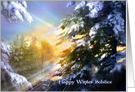 Winter Solstice Sunshine, Bright and Sunny Winter Yule Forest card