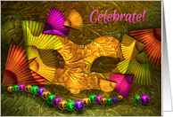 Mardi Gras Party Invitation, Golden Mask with Fans and Beads card