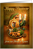 Happy Passover from our Home to Yours, Candles and Seder Plate card