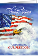 Veterans Day Thank You, American Eagle and Flag in Clouds card