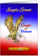 Eagle Scout Court of Honor Invitation, Golden Eagle with Brass Label card