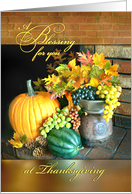 A Blessing for Thanksgiving, Fall Foliage & Pumpkin on Hearth card