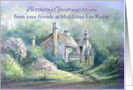 Birthday Custom Front for Business, Add Name, House in Country card