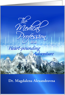 Happy Doctors' Day Thanks, Heartbeat & Mountains Custom Name card